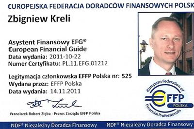 doradca finansowy zbigniew kreli legitymacja